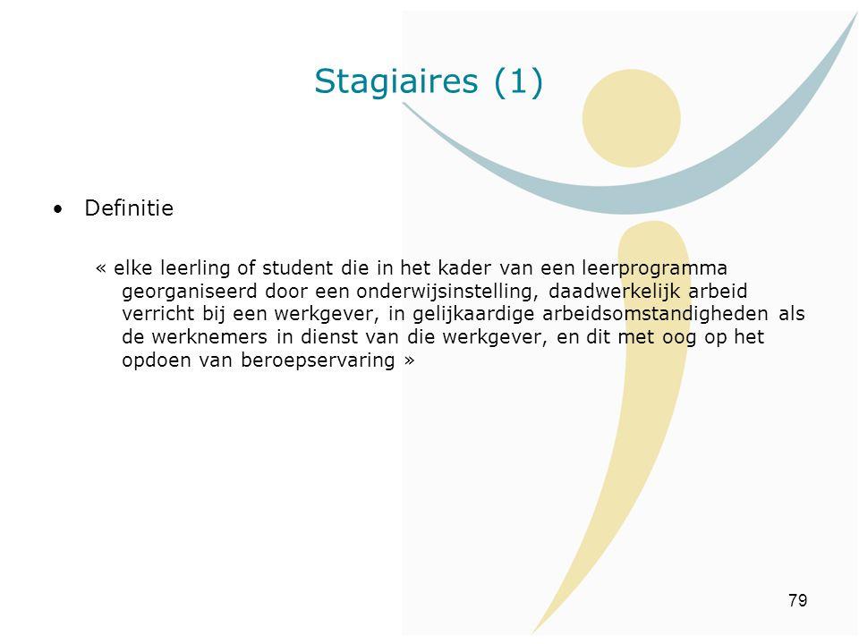 79 Stagiaires (1) Definitie « elke leerling of student die in het kader van een leerprogramma georganiseerd door een onderwijsinstelling, daadwerkelij