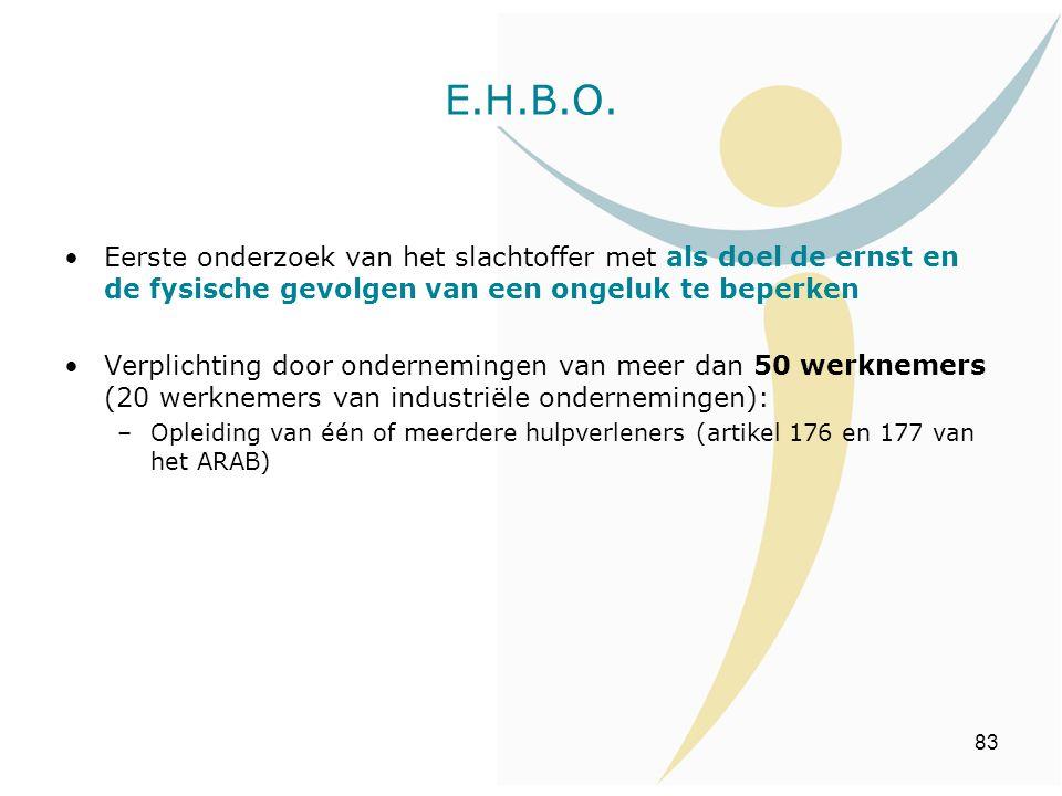 83 E.H.B.O. Eerste onderzoek van het slachtoffer met als doel de ernst en de fysische gevolgen van een ongeluk te beperken Verplichting door ondernemi