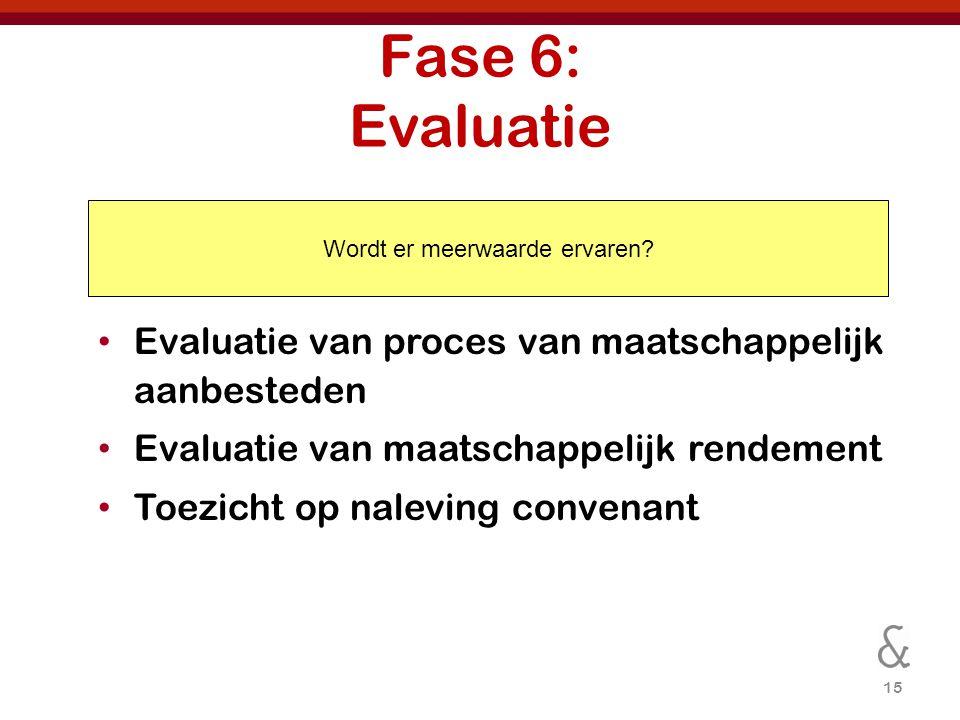 15 Fase 6: Evaluatie Evaluatie van proces van maatschappelijk aanbesteden Evaluatie van maatschappelijk rendement Toezicht op naleving convenant Wordt