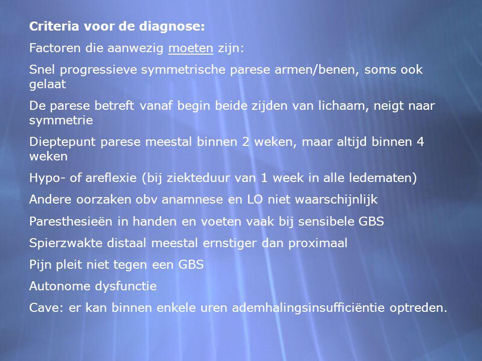 Criteria voor de diagnose: Factoren die aanwezig moeten zijn: Snel progressieve symmetrische parese armen/benen, soms ook gelaat De parese betreft van