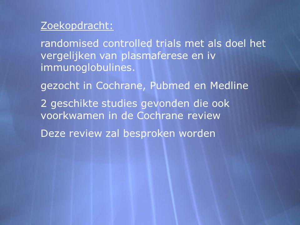 Zoekopdracht: randomised controlled trials met als doel het vergelijken van plasmaferese en iv immunoglobulines. gezocht in Cochrane, Pubmed en Medlin