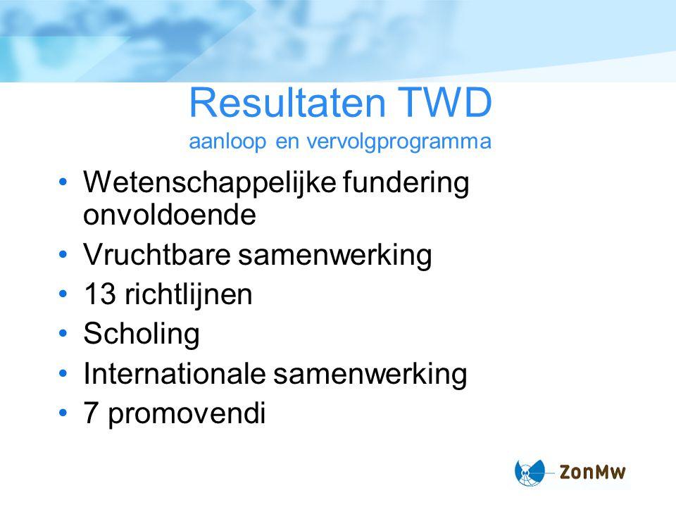 Resultaten TWD aanloop en vervolgprogramma Wetenschappelijke fundering onvoldoende Vruchtbare samenwerking 13 richtlijnen Scholing Internationale samenwerking 7 promovendi