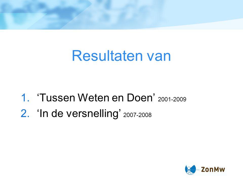 Resultaten van 1.'Tussen Weten en Doen' 2001-2009 2.'In de versnelling' 2007-2008