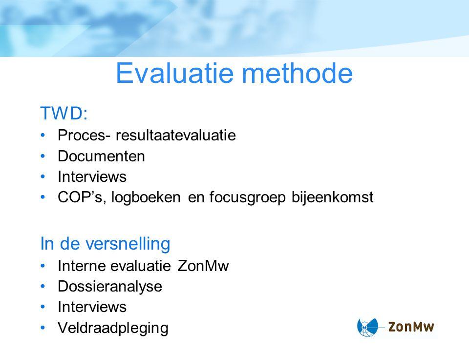 Evaluatie methode TWD: Proces- resultaatevaluatie Documenten Interviews COP's, logboeken en focusgroep bijeenkomst In de versnelling Interne evaluatie ZonMw Dossieranalyse Interviews Veldraadpleging