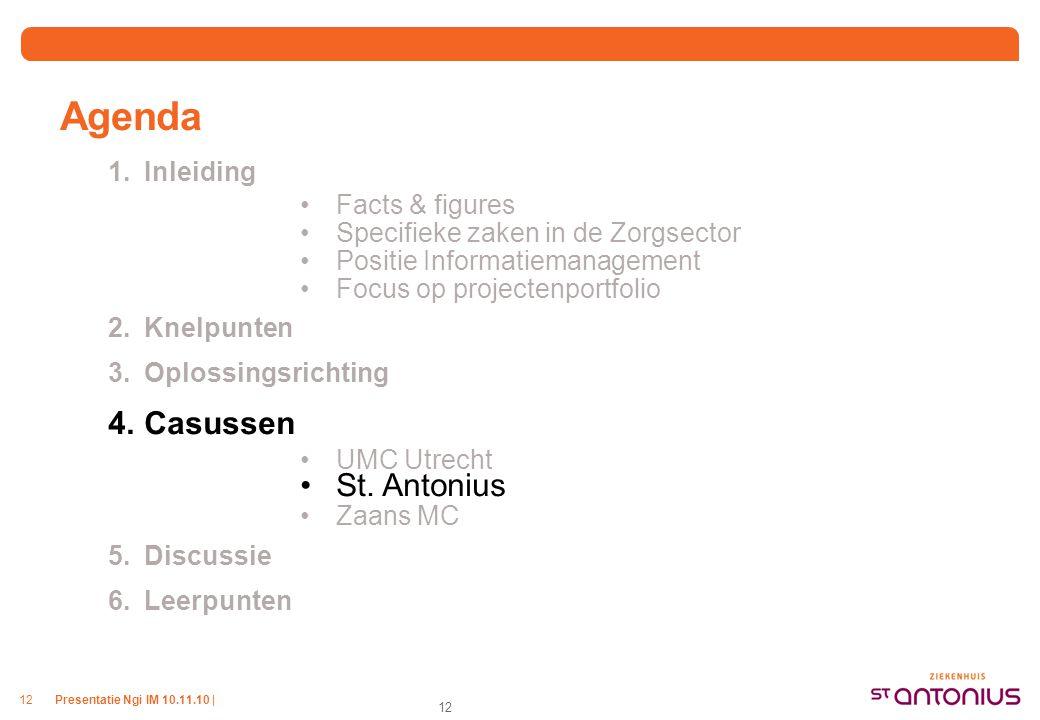 Presentatie Ngi IM 10.11.10 |12 Agenda 1.Inleiding Facts & figures Specifieke zaken in de Zorgsector Positie Informatiemanagement Focus op projectenpo