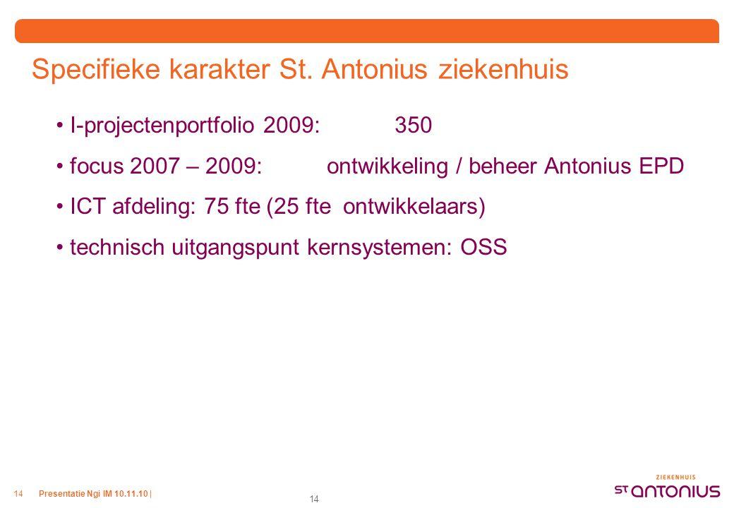 Presentatie Ngi IM 10.11.10 |14 Specifieke karakter St. Antonius ziekenhuis I-projectenportfolio 2009: 350 focus 2007 – 2009: ontwikkeling / beheer An