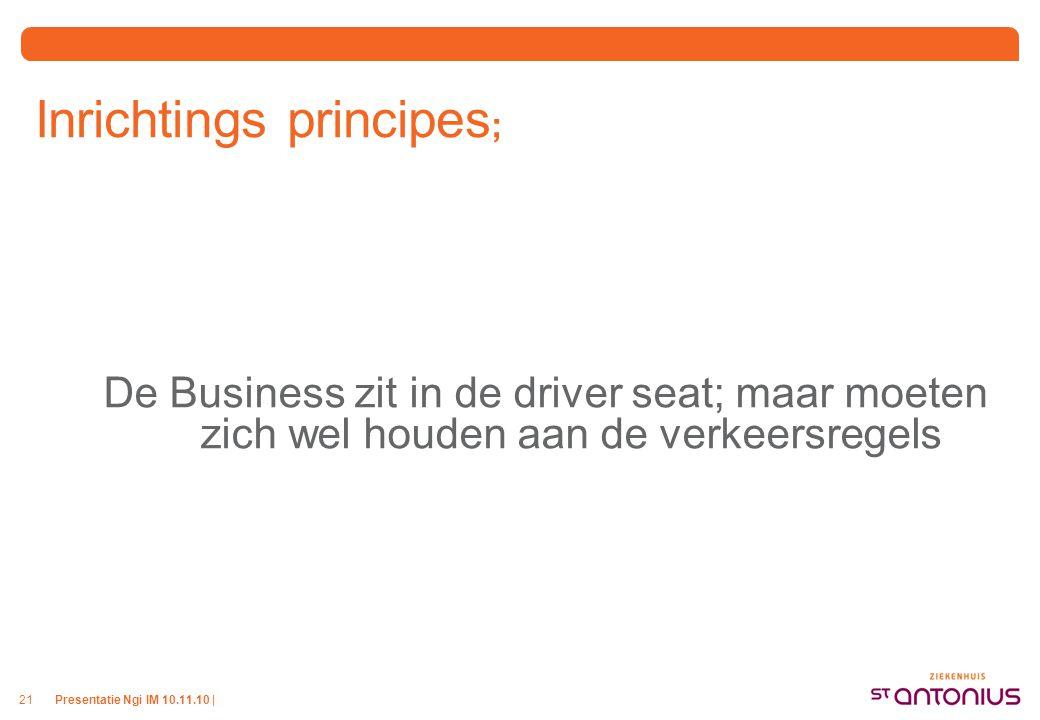 Presentatie Ngi IM 10.11.10 |21 Inrichtings principes ; De Business zit in de driver seat; maar moeten zich wel houden aan de verkeersregels