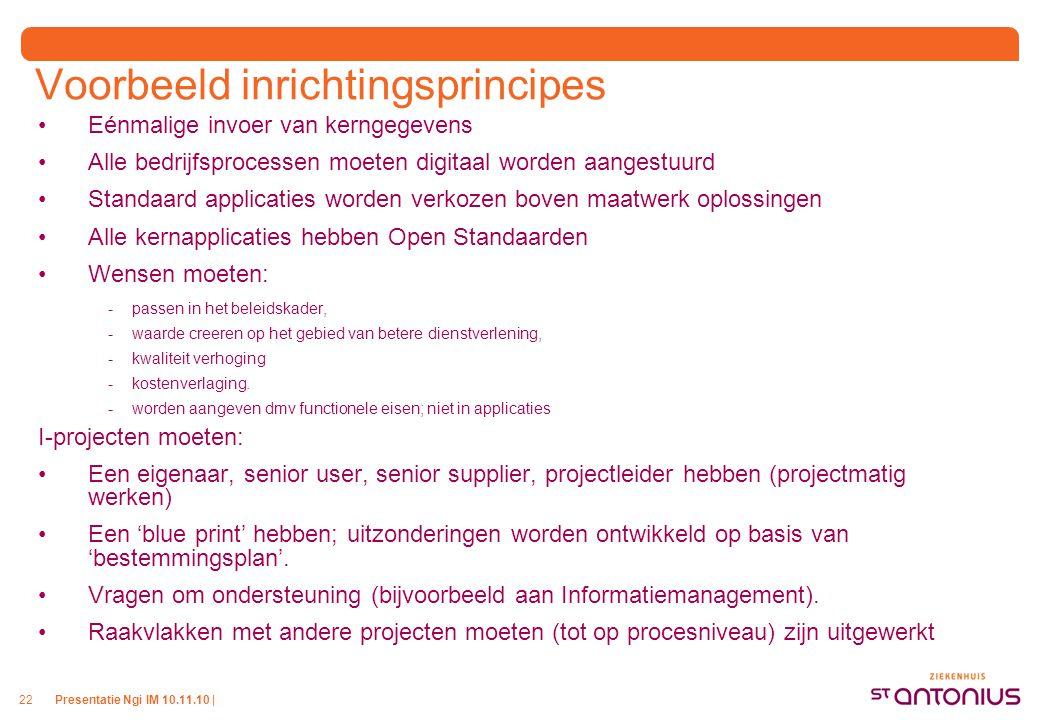 Presentatie Ngi IM 10.11.10 |22 Voorbeeld inrichtingsprincipes Eénmalige invoer van kerngegevens Alle bedrijfsprocessen moeten digitaal worden aangest