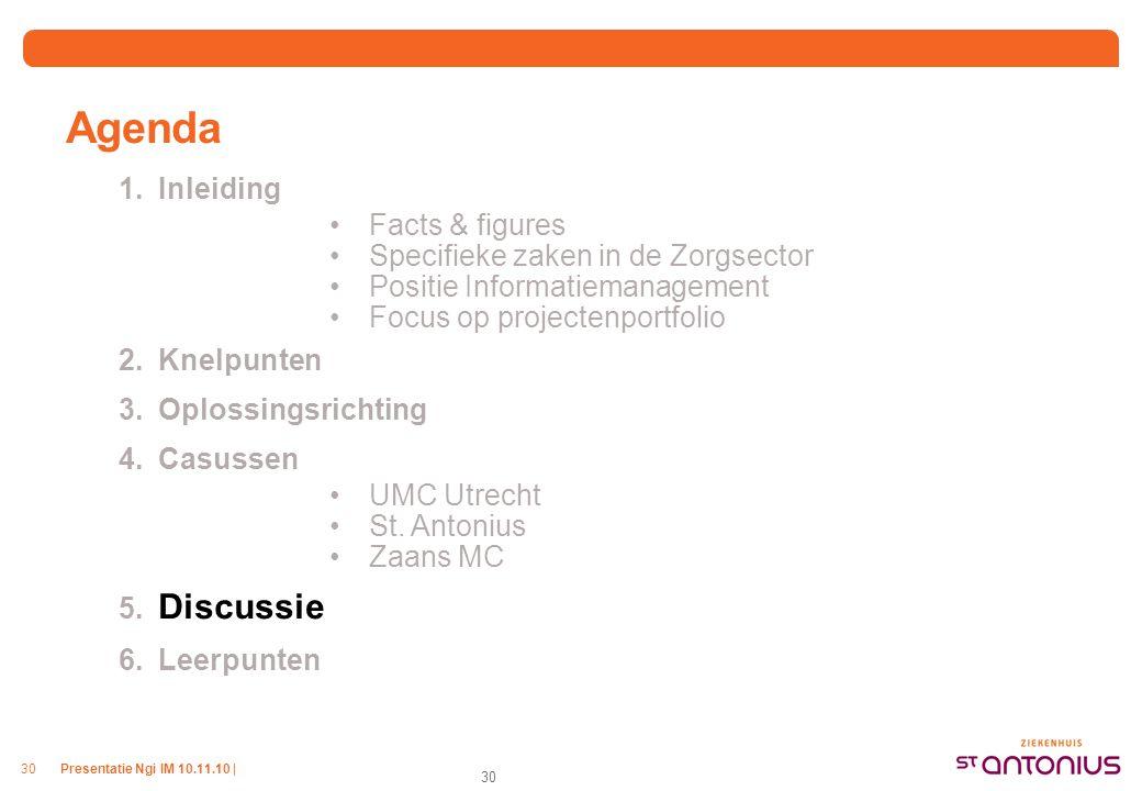 Presentatie Ngi IM 10.11.10 |30 Agenda 1.Inleiding Facts & figures Specifieke zaken in de Zorgsector Positie Informatiemanagement Focus op projectenpo