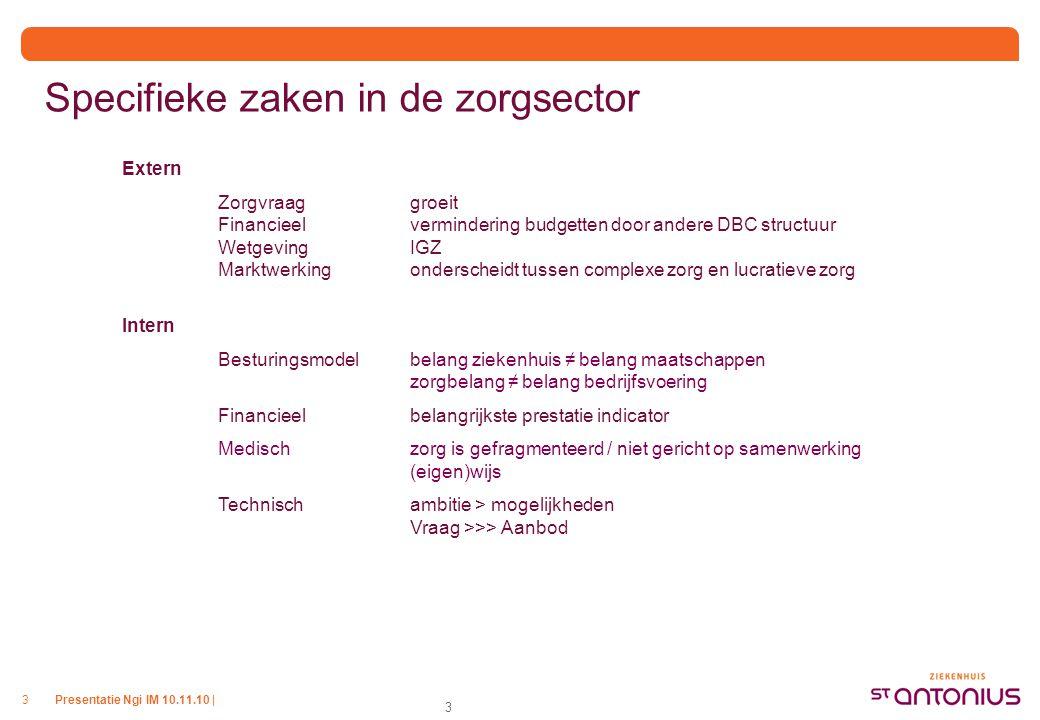Presentatie Ngi IM 10.11.10 |3 3 Specifieke zaken in de zorgsector Extern Zorgvraag groeit Financieel vermindering budgetten door andere DBC structuur