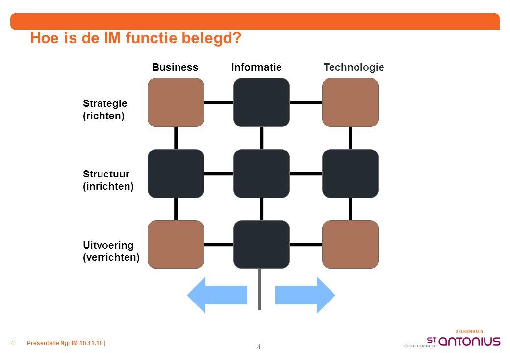 Presentatie Ngi IM 10.11.10 |4 Hoe is de IM functie belegd? BusinessInformatieTechnologie Strategie (richten) Structuur (inrichten) Uitvoering (verric