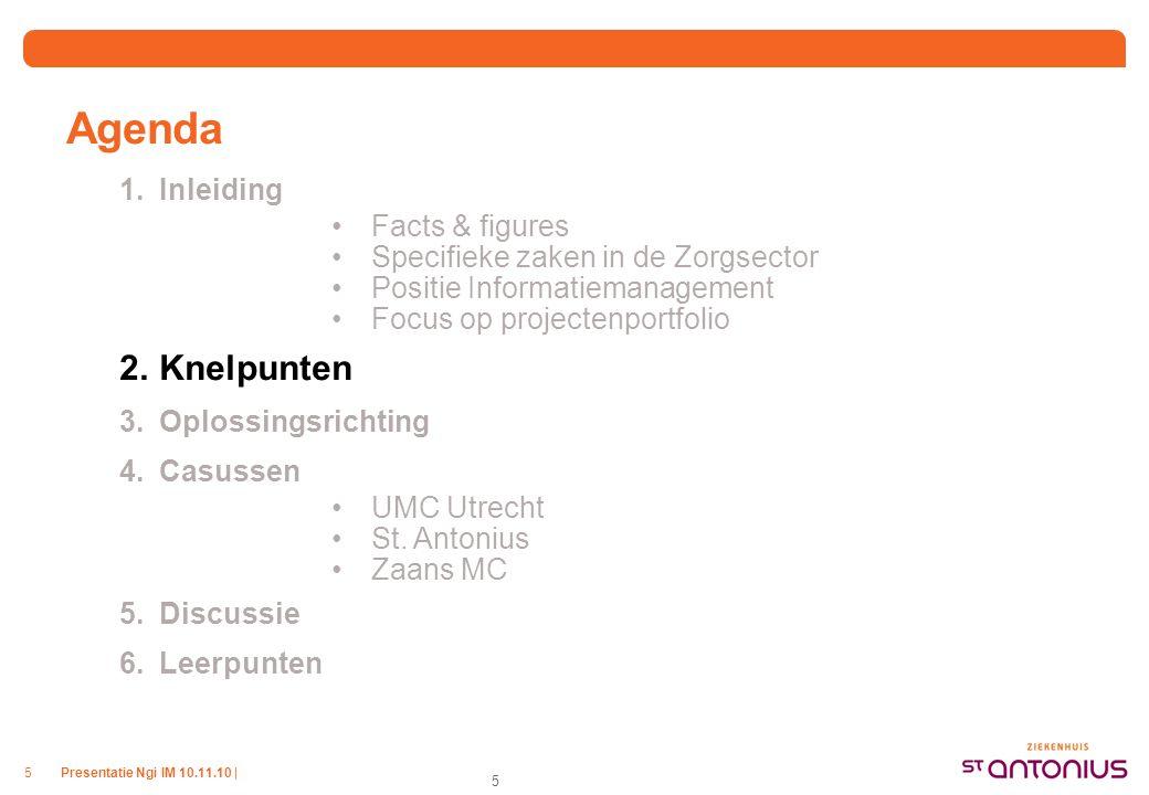 Presentatie Ngi IM 10.11.10 |5 5 Agenda 1.Inleiding Facts & figures Specifieke zaken in de Zorgsector Positie Informatiemanagement Focus op projectenportfolio 2.Knelpunten 3.Oplossingsrichting 4.Casussen UMC Utrecht St.