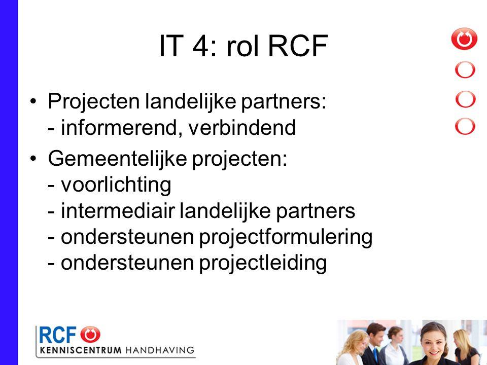 IT 4: rol RCF Projecten landelijke partners: - informerend, verbindend Gemeentelijke projecten: - voorlichting - intermediair landelijke partners - ondersteunen projectformulering - ondersteunen projectleiding