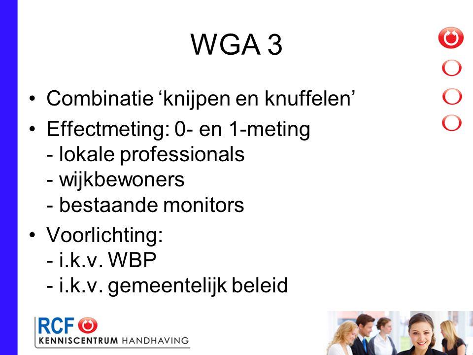 WGA 3 Combinatie 'knijpen en knuffelen' Effectmeting: 0- en 1-meting - lokale professionals - wijkbewoners - bestaande monitors Voorlichting: - i.k.v.
