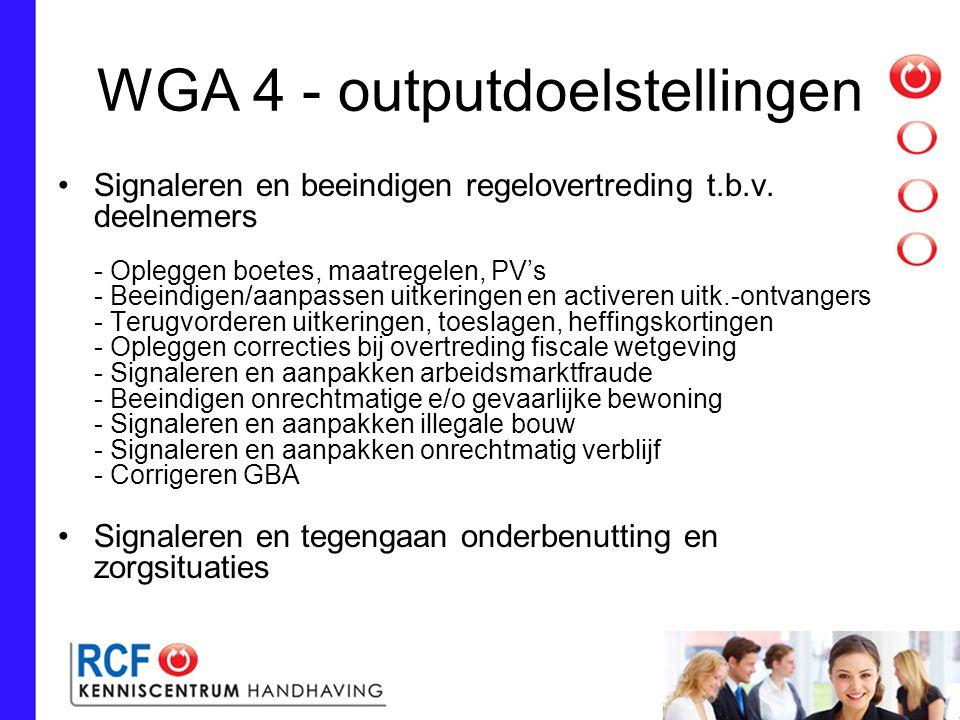 WGA 4 - outputdoelstellingen Signaleren en beeindigen regelovertreding t.b.v.