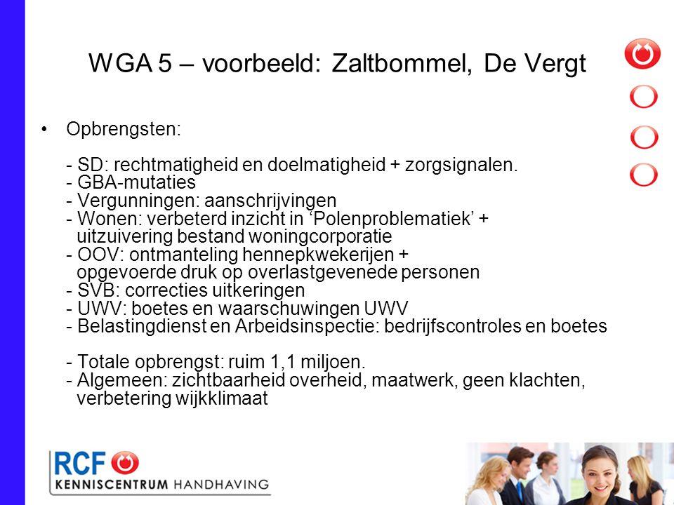 WGA 5 – voorbeeld: Zaltbommel, De Vergt Opbrengsten: - SD: rechtmatigheid en doelmatigheid + zorgsignalen.