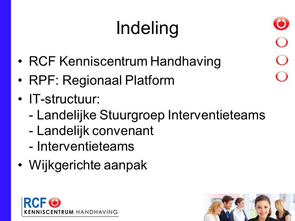 Indeling RCF Kenniscentrum Handhaving RPF: Regionaal Platform IT-structuur: - Landelijke Stuurgroep Interventieteams - Landelijk convenant - Interventieteams Wijkgerichte aanpak