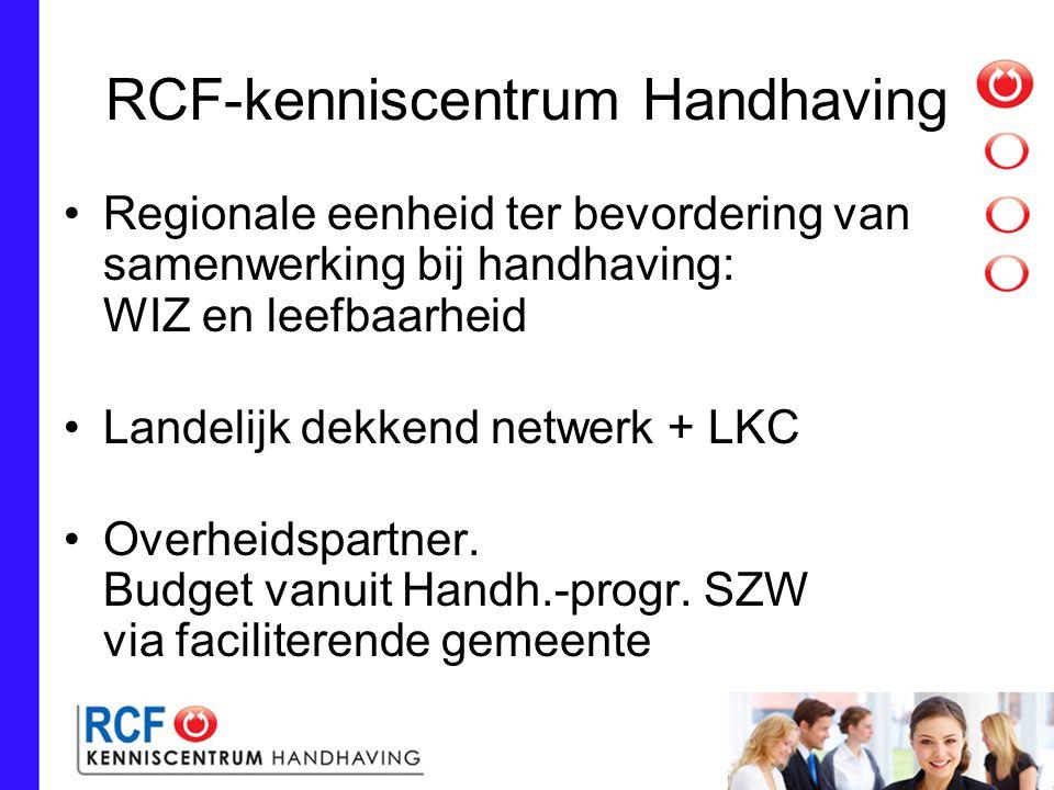 RCF 2: missie/visie Handhaving - dienstverlening Multidisciplinaire samenwerking Verbinding kennis en expertise Stimuleren, adviseren, ondersteunen Taakvelden: Handhaving WIZ en IT Neutrale partij Werkzaam t.b.v.