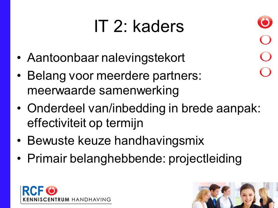 IT 2: kaders Aantoonbaar nalevingstekort Belang voor meerdere partners: meerwaarde samenwerking Onderdeel van/inbedding in brede aanpak: effectiviteit op termijn Bewuste keuze handhavingsmix Primair belanghebbende: projectleiding
