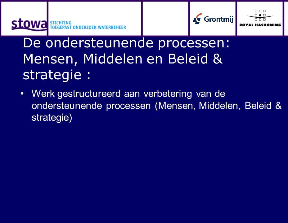 Werk gestructureerd aan verbetering van de ondersteunende processen (Mensen, Middelen, Beleid & strategie) De ondersteunende processen: Mensen, Middelen en Beleid & strategie :