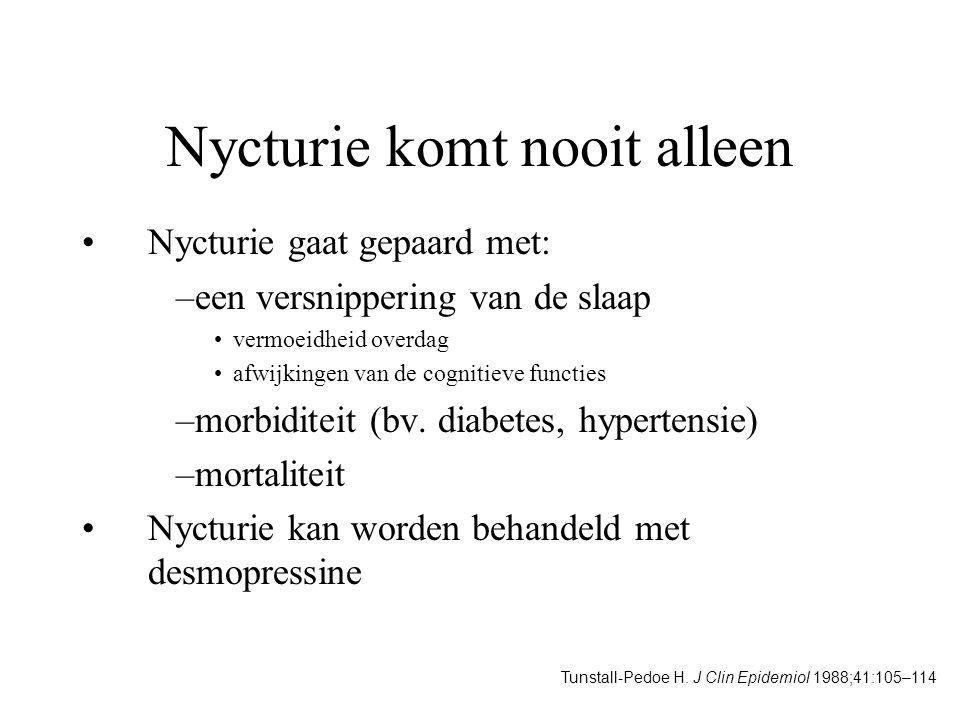 Nycturie komt nooit alleen Nycturie gaat gepaard met: –een versnippering van de slaap vermoeidheid overdag afwijkingen van de cognitieve functies –mor