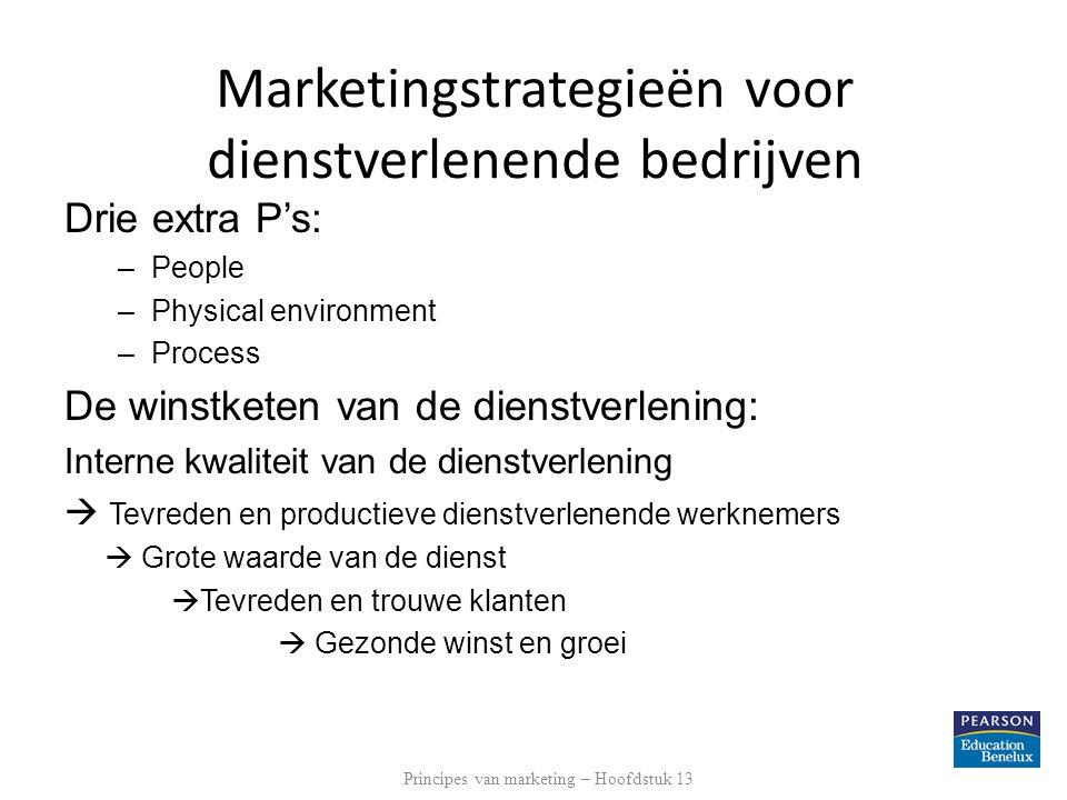 Marketingstrategieën voor dienstverlenende bedrijven Drie extra P's: –People –Physical environment –Process De winstketen van de dienstverlening: Inte