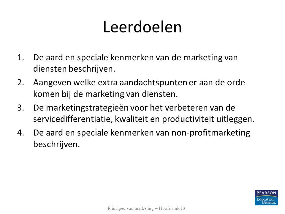 Leerdoelen 1.De aard en speciale kenmerken van de marketing van diensten beschrijven. 2.Aangeven welke extra aandachtspunten er aan de orde komen bij
