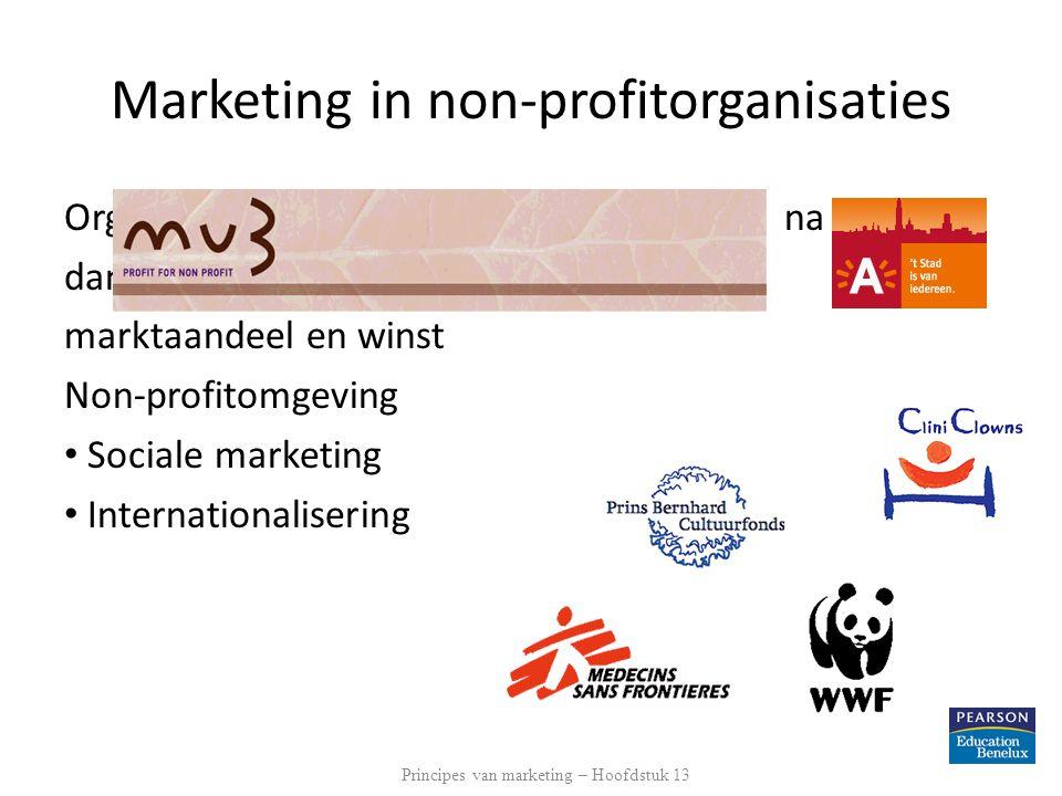 Marketing in non-profitorganisaties Organisaties streven andere doelstellingen na dan primair economische, zoals marktaandeel en winst Non-profitomgev