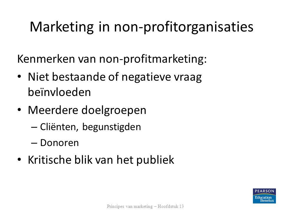 Kenmerken van non-profitmarketing: Niet bestaande of negatieve vraag beïnvloeden Meerdere doelgroepen – Cliënten, begunstigden – Donoren Kritische bli