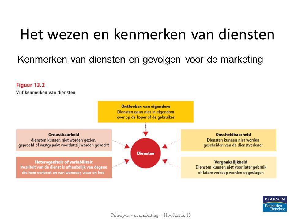 Kenmerken van diensten en gevolgen voor de marketing Hier figuur 13.2 uit de 5 e editie opnemen Principes van marketing – Hoofdstuk 13 Het wezen en ke