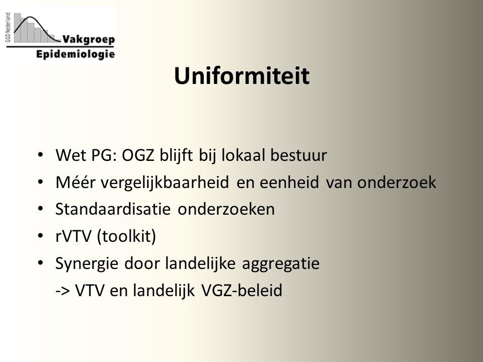 Uniformiteit Wet PG: OGZ blijft bij lokaal bestuur Méér vergelijkbaarheid en eenheid van onderzoek Standaardisatie onderzoeken rVTV (toolkit) Synergie door landelijke aggregatie -> VTV en landelijk VGZ-beleid