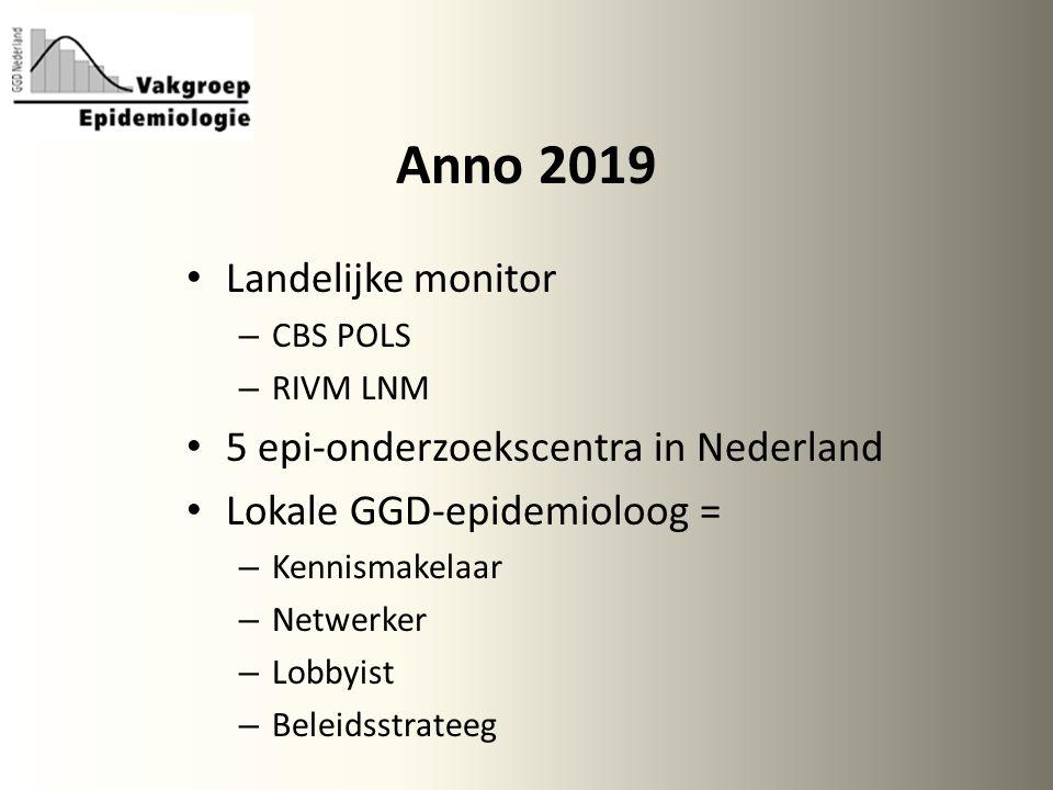 Anno 2019 Landelijke monitor – CBS POLS – RIVM LNM 5 epi-onderzoekscentra in Nederland Lokale GGD-epidemioloog = – Kennismakelaar – Netwerker – Lobbyist – Beleidsstrateeg