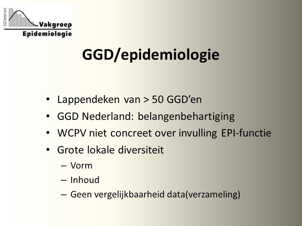 GGD/epidemiologie Lappendeken van > 50 GGD'en GGD Nederland: belangenbehartiging WCPV niet concreet over invulling EPI-functie Grote lokale diversiteit – Vorm – Inhoud – Geen vergelijkbaarheid data(verzameling)