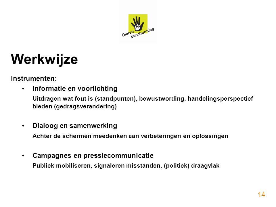 Werkwijze Instrumenten: Informatie en voorlichting Uitdragen wat fout is (standpunten), bewustwording, handelingsperspectief bieden (gedragsveranderin