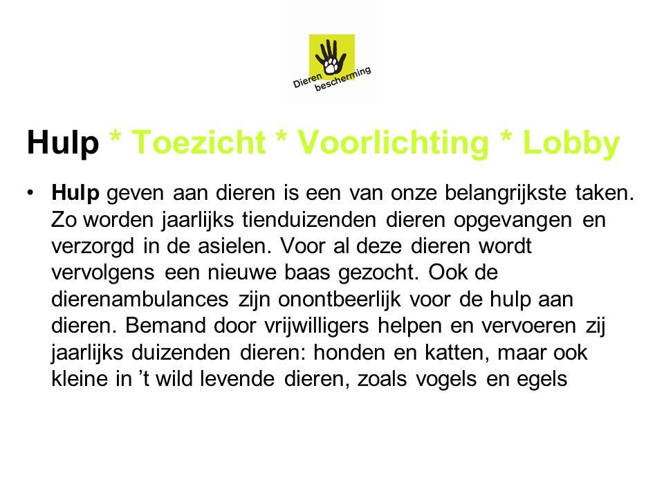 Hulp * Toezicht * Voorlichting * Lobby Naast hulp aan dieren is toezicht op dierenwelzijn een belangrijke taak.