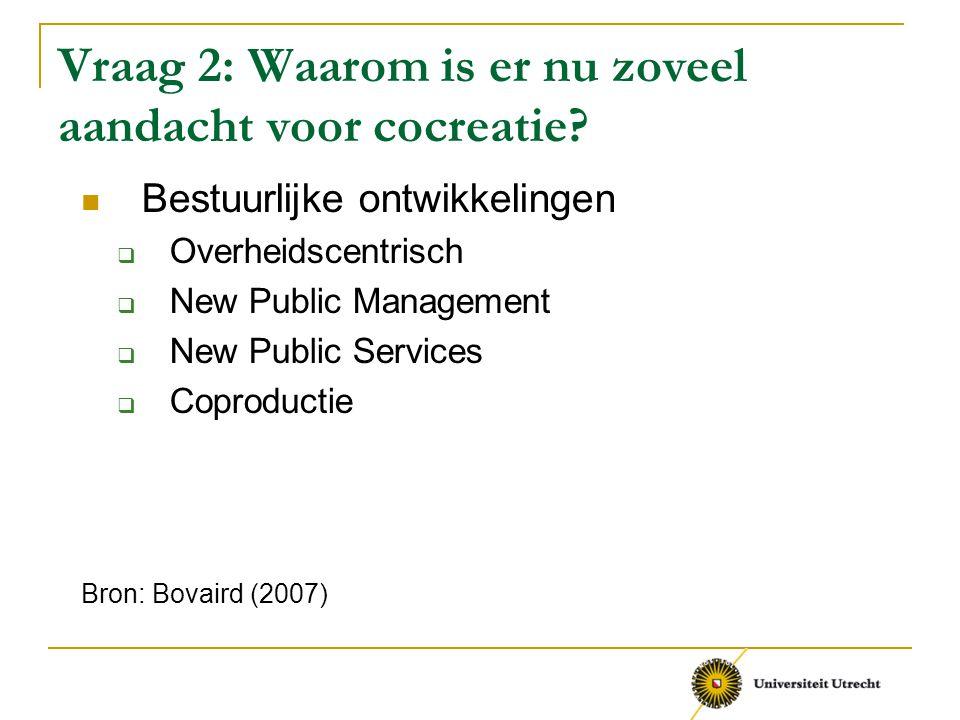 Vraag 2: Waarom is er nu zoveel aandacht voor cocreatie? Bestuurlijke ontwikkelingen  Overheidscentrisch  New Public Management  New Public Service