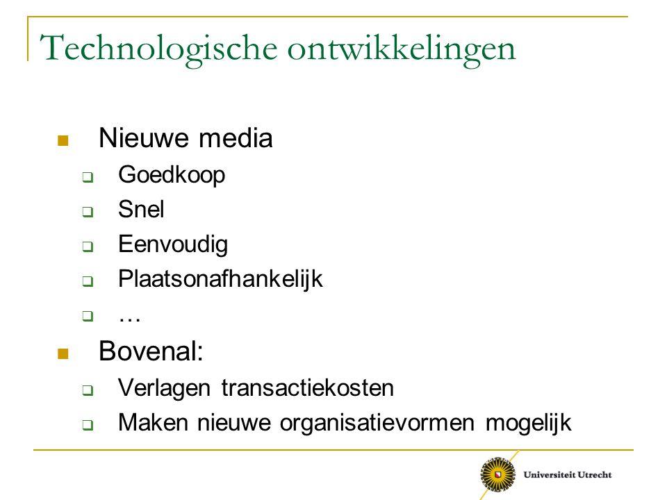 Technologische ontwikkelingen Nieuwe media  Goedkoop  Snel  Eenvoudig  Plaatsonafhankelijk  … Bovenal:  Verlagen transactiekosten  Maken nieuwe