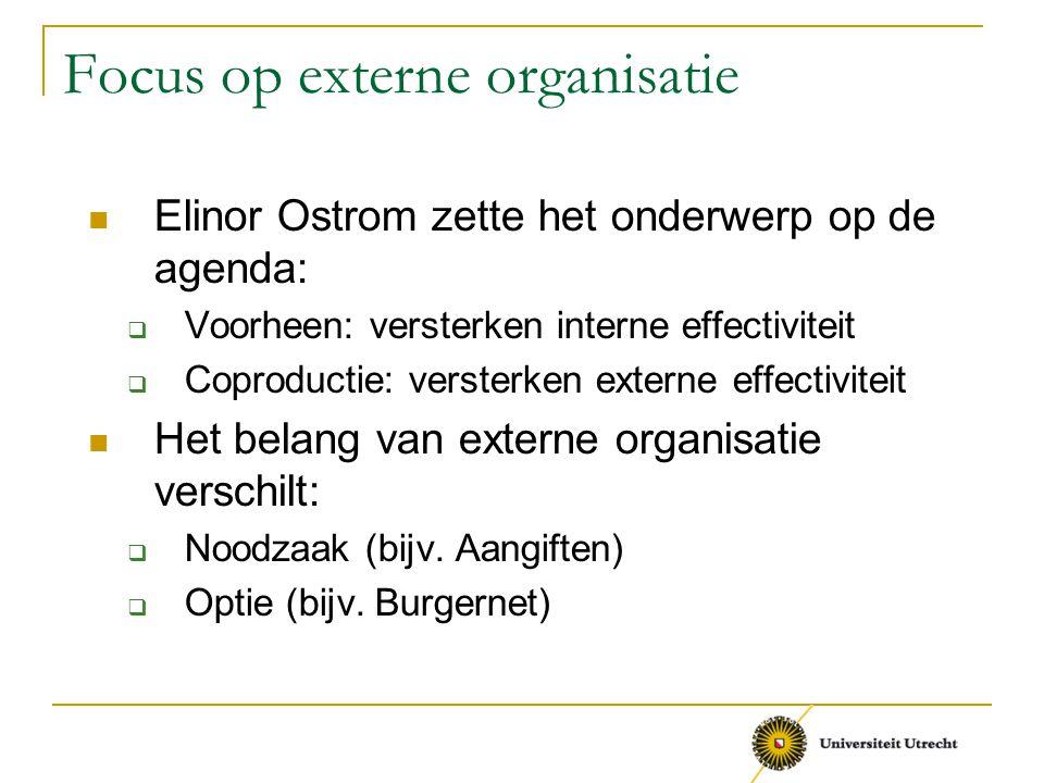 Focus op externe organisatie Elinor Ostrom zette het onderwerp op de agenda:  Voorheen: versterken interne effectiviteit  Coproductie: versterken ex