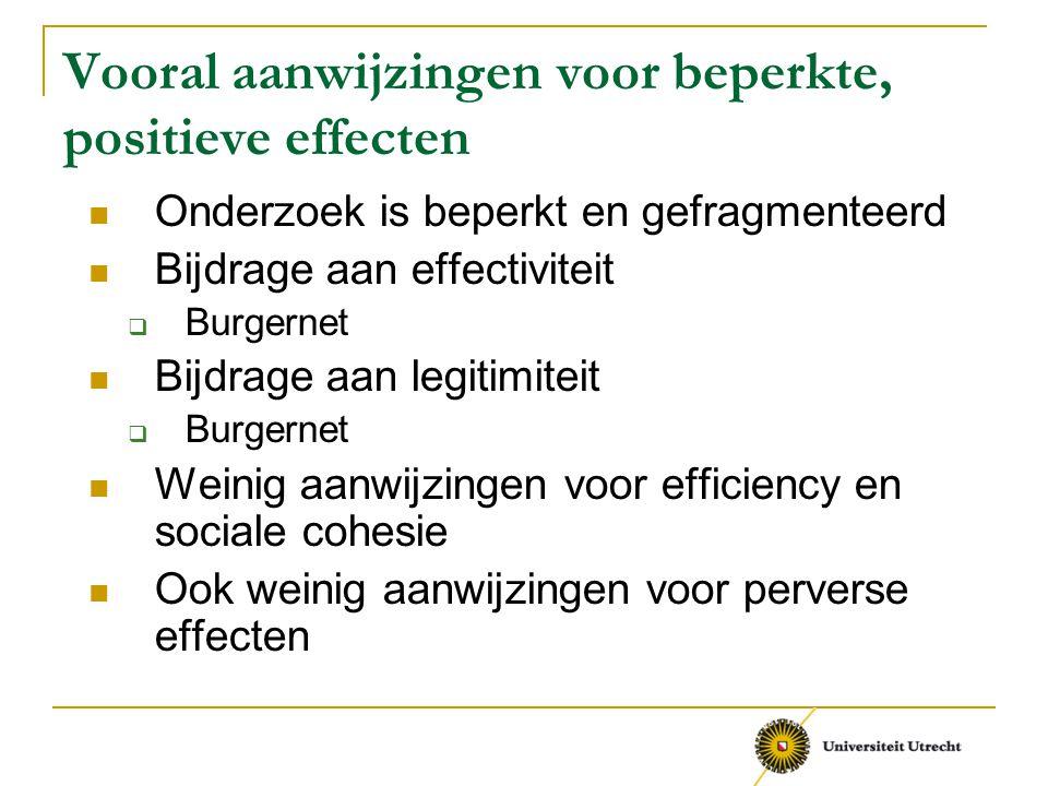 Vooral aanwijzingen voor beperkte, positieve effecten Onderzoek is beperkt en gefragmenteerd Bijdrage aan effectiviteit  Burgernet Bijdrage aan legit