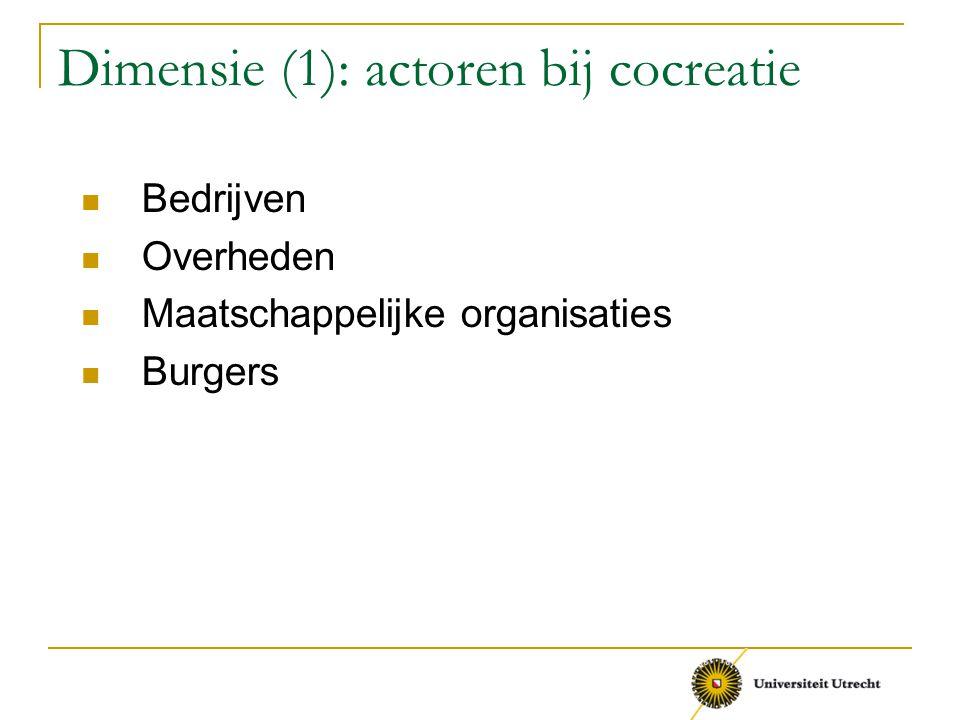 Dimensie (1): actoren bij cocreatie Bedrijven Overheden Maatschappelijke organisaties Burgers