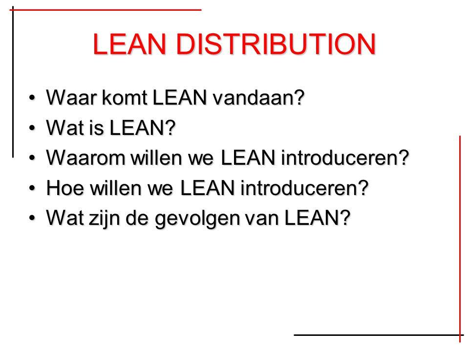 LEAN DISTRIBUTION Waar komt LEAN vandaan?Waar komt LEAN vandaan? Wat is LEAN?Wat is LEAN? Waarom willen we LEAN introduceren?Waarom willen we LEAN int