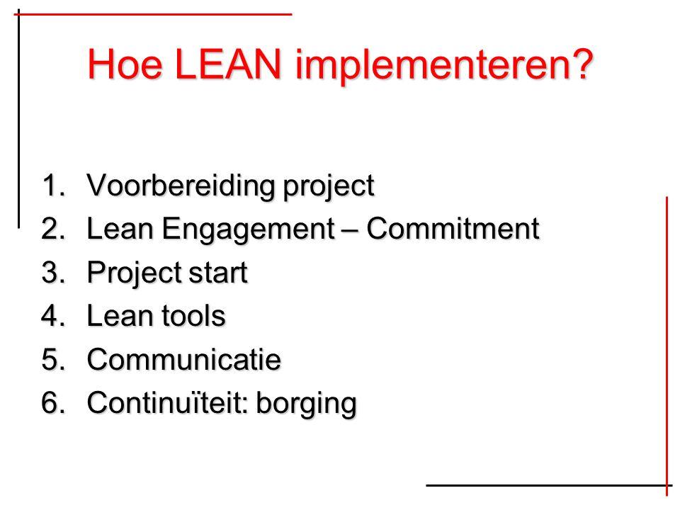 Hoe LEAN implementeren? 1.Voorbereiding project 2.Lean Engagement – Commitment 3.Project start 4.Lean tools 5.Communicatie 6.Continuïteit: borging