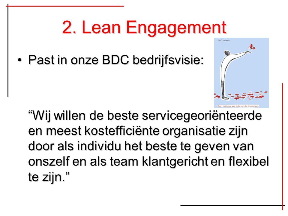 """2. Lean Engagement Past in onze BDC bedrijfsvisie:Past in onze BDC bedrijfsvisie: """"Wij willen de beste servicegeoriënteerde en meest kostefficiënte or"""