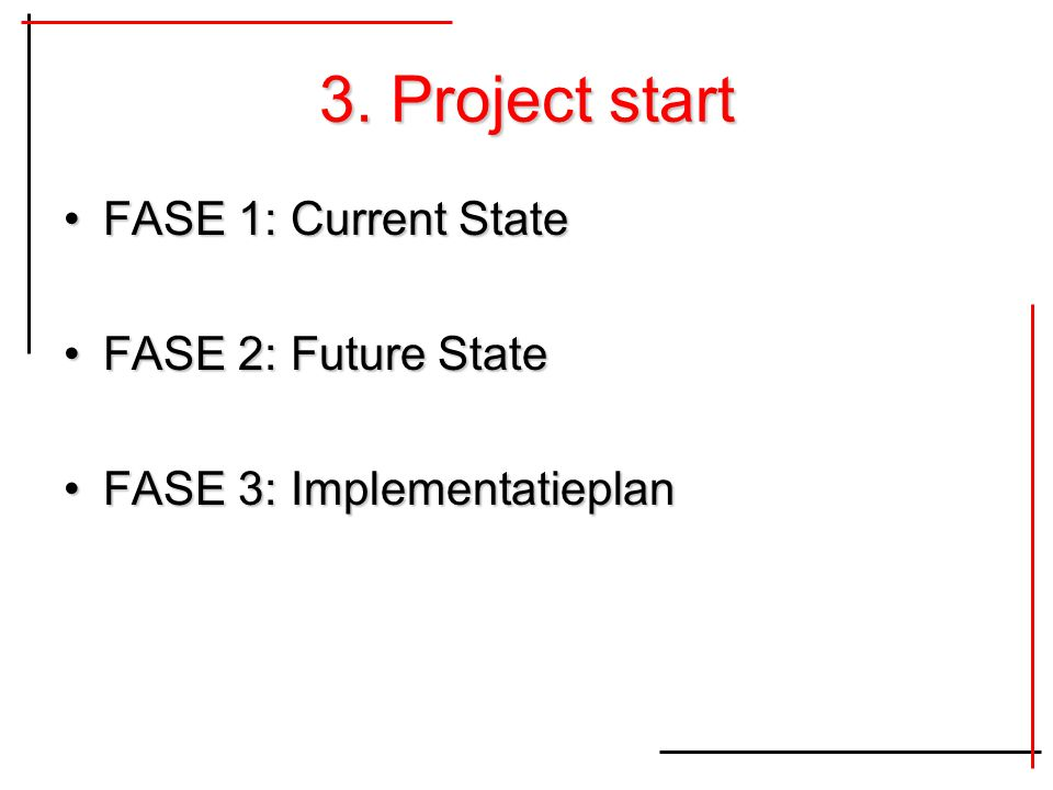 3. Project start FASE 1: Current StateFASE 1: Current State FASE 2: Future StateFASE 2: Future State FASE 3: ImplementatieplanFASE 3: Implementatiepla