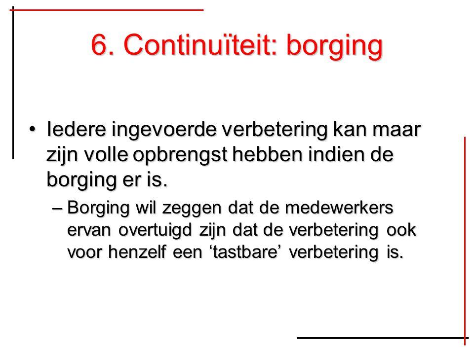 6. Continuïteit: borging Iedere ingevoerde verbetering kan maar zijn volle opbrengst hebben indien de borging er is.Iedere ingevoerde verbetering kan