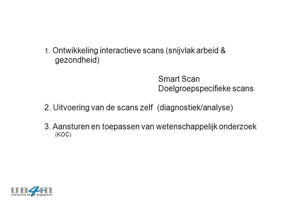 1. Ontwikkeling interactieve scans (snijvlak arbeid & gezondheid) Smart Scan Doelgroepspecifieke scans 2. Uitvoering van de scans zelf (diagnostiek/an