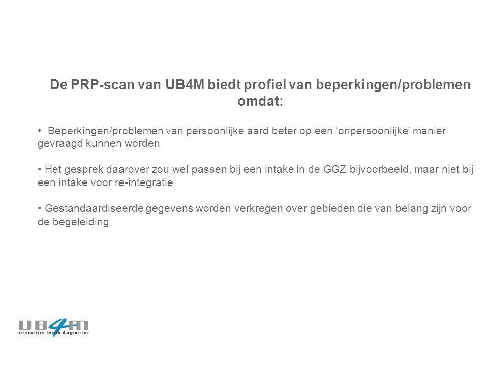 De PRP-scan van UB4M biedt profiel van beperkingen/problemen omdat: Beperkingen/problemen van persoonlijke aard beter op een 'onpersoonlijke' manier gevraagd kunnen worden Het gesprek daarover zou wel passen bij een intake in de GGZ bijvoorbeeld, maar niet bij een intake voor re-integratie Gestandaardiseerde gegevens worden verkregen over gebieden die van belang zijn voor de begeleiding