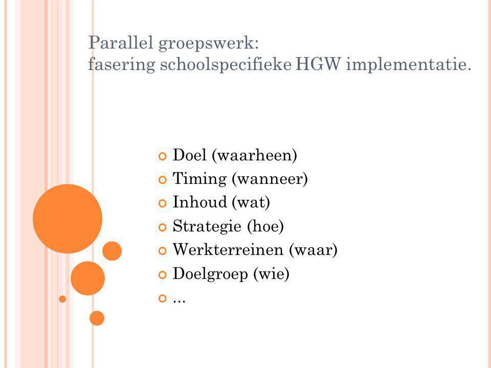 Parallel groepswerk: fasering schoolspecifieke HGW implementatie. Doel (waarheen) Timing (wanneer) Inhoud (wat) Strategie (hoe) Werkterreinen (waar) D