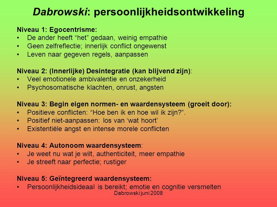 """Dabrowski juni 2008 Dabrowski: persoonlijkheidsontwikkeling Niveau 1: Egocentrisme: De ander heeft """"het"""" gedaan, weinig empathie Geen zelfreflectie; i"""