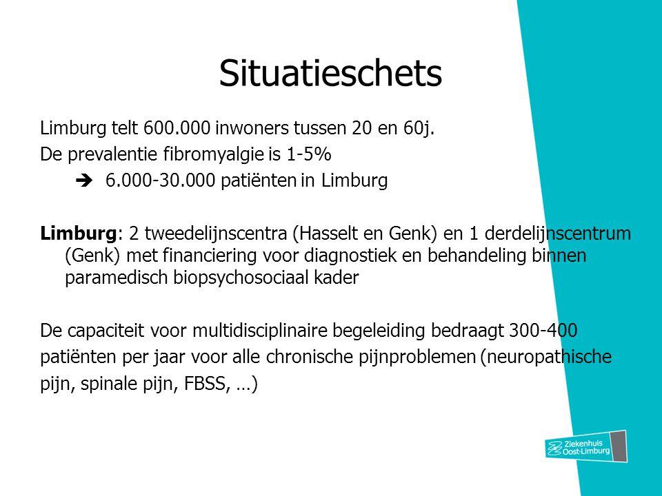 Situatieschets Limburg telt 600.000 inwoners tussen 20 en 60j. De prevalentie fibromyalgie is 1-5%  6.000-30.000 patiënten in Limburg Limburg: 2 twee